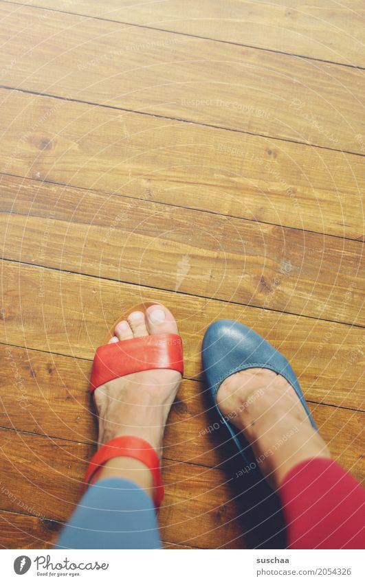 more variety Feet Toes Footwear Sandal High heels Floor covering Wooden floor Blue Red Inverted False alternation Crazy Irritation Alzheimer's Exceptional
