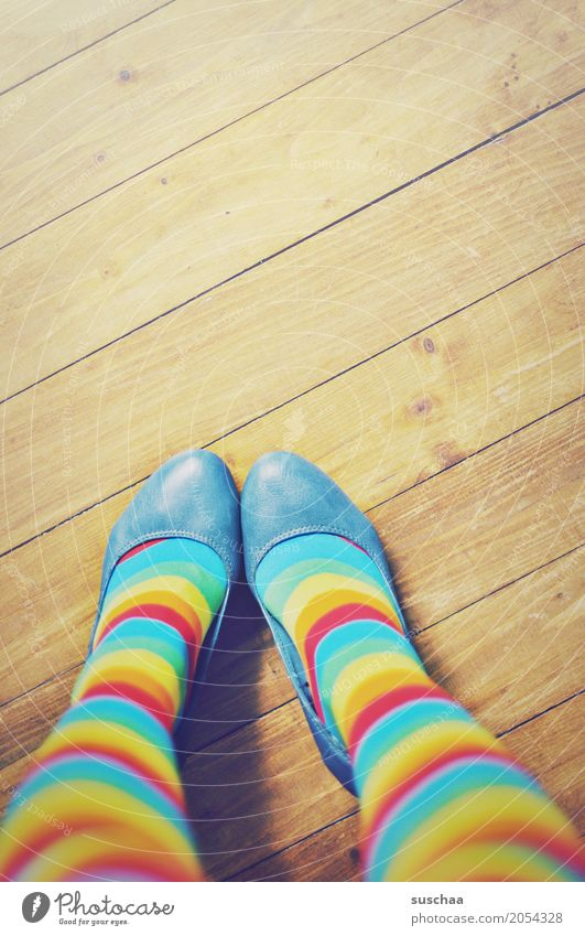 variegated Feet Footwear Wooden floor Legs Stand Striped Striped socks Multicoloured Crazy Exceptional Style Fashion Young woman