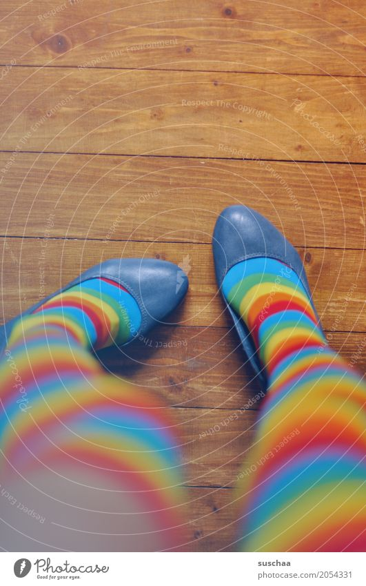 Curled Feet Legs Footwear Stockings Floor covering Wooden floor Multicoloured Crazy Exceptional Pippi Longstocking Knock-kneed Stand Striped Striped socks Style