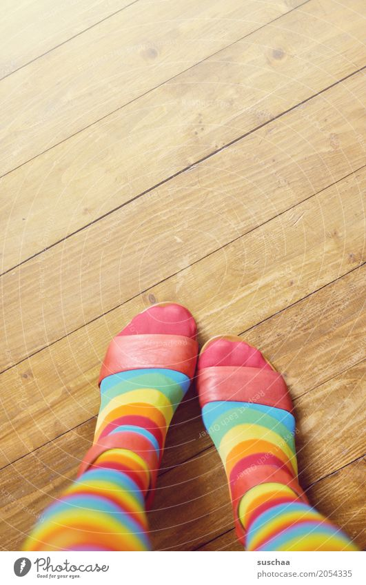 variegated Feet Footwear Sandal Toes Wooden floor Floor covering Stand Striped Striped socks Crazy Multicoloured Style Fashion aberration of taste