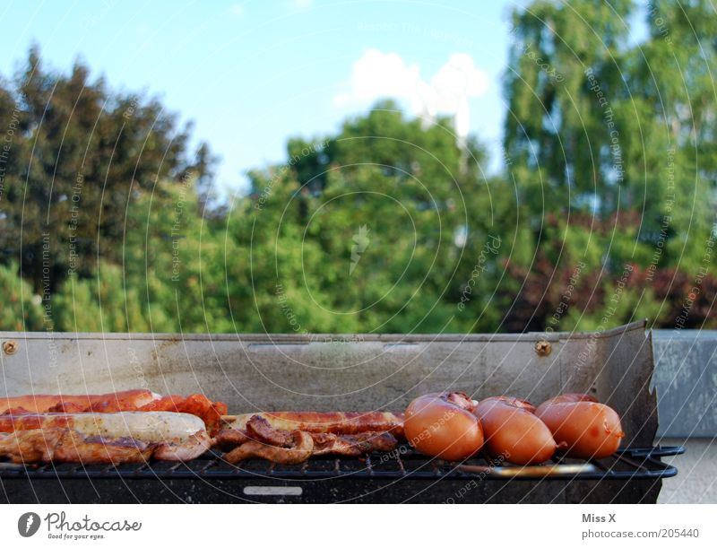 Grill in the green Food Meat Sausage Nutrition Dinner Picnic Camping Garden Park Hot Delicious Barbecue (event) Barbecue (apparatus) Bratwurst Steak Meat dishes