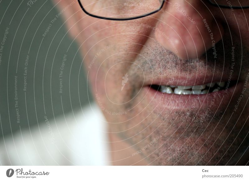Human being Man Head Mouth Skin Adults Masculine Teeth Eyeglasses Facial hair Partially visible Stubble Face Unshaven Unkempt Man`s mouth