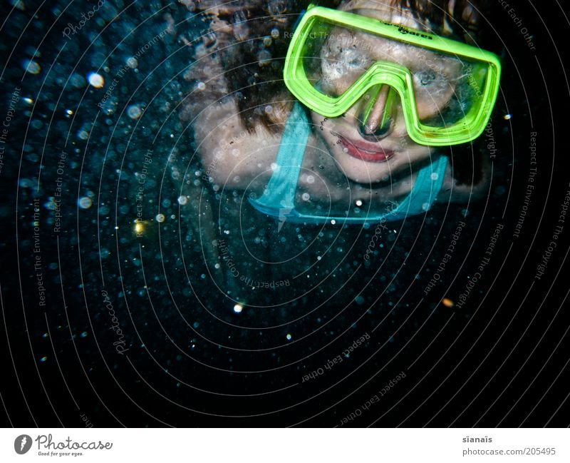 Blurred Summer vacation Aquatics Dive Child Girl Water Cold Diving goggles Diver Misted up Diffuse Dreary Emerge Perspective Looking Amazed Air bubble Neon Blue