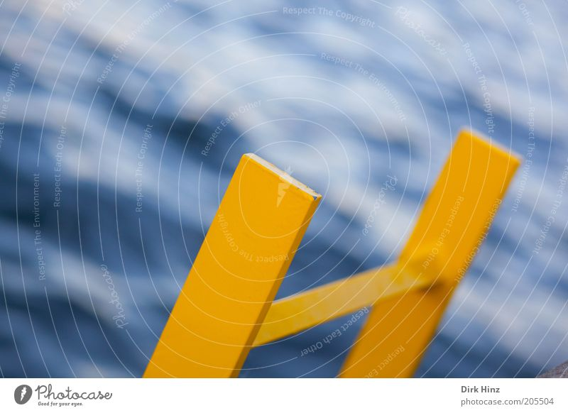 """Over """"Yellow"""" it goes down Ocean Waves Economy Health care Safety Security check Ladder Elements Water Coast Deserted Harbour Metal Sign Fluid Wet Blue"""