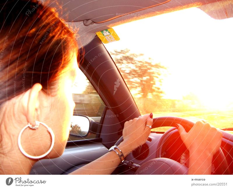 drivin' to the sun Sunset Driving Highway Woman Vacation & Travel Transport Car fittings Street Dashboard