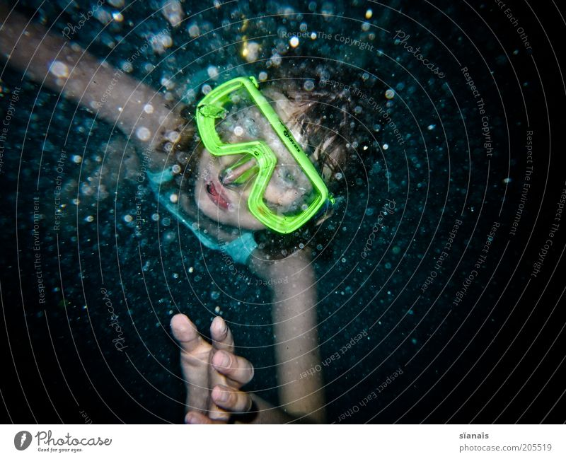immersion Summer vacation Aquatics Dive Child Girl Water Cold Diving goggles Diver Misted up Diffuse Dreary Emerge Perspective Looking Amazed Air bubble Neon