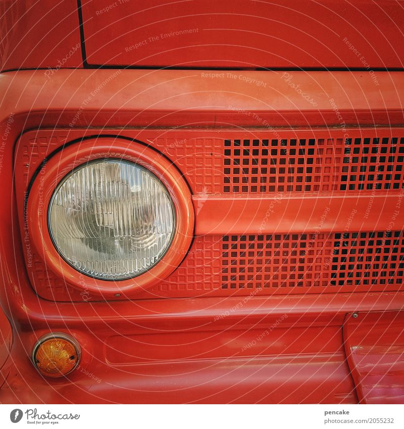 Risk's coming to rescue! Vehicle Vintage car Sign Hot Fire engine Red Burn Blaze First Aid Erase Rescue Colour photo Exterior shot Close-up Detail Pattern