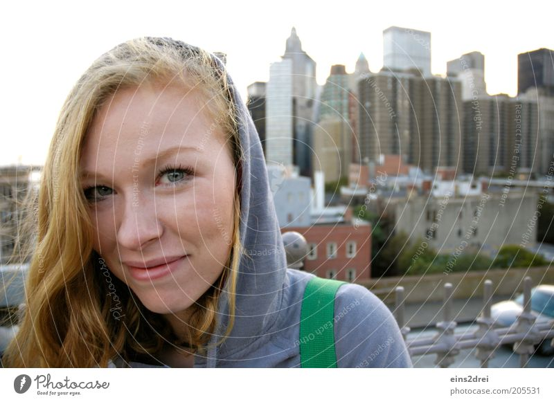 Hello New York Vacation & Travel Trip Sightseeing City trip Feminine Young woman Youth (Young adults) 1 Human being High-rise Looking Blonde Happy Beautiful Joy