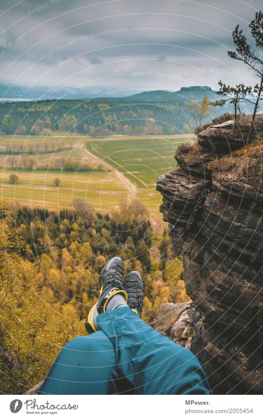 up on the mountain peak... Lifestyle Trip Adventure Far-off places Freedom Summer Summer vacation Sun Mountain Hiking Human being Legs 18 - 30 years Young man