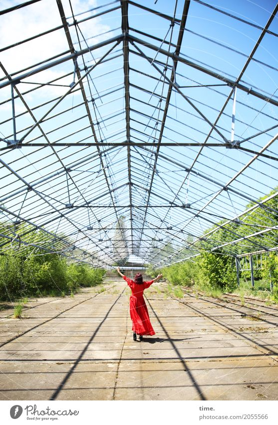 AST 10 | welcome to the sky Feminine Woman Adults Human being Sky Clouds Beautiful weather Plant Ruin Greenhouse To enjoy Stand Dance Friendliness Happiness