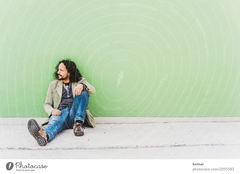 AST10 | waiting room Lifestyle Style Relaxation Calm Leisure and hobbies Human being Masculine Man Adults 30 - 45 years Wall (barrier) Wall (building) Jeans