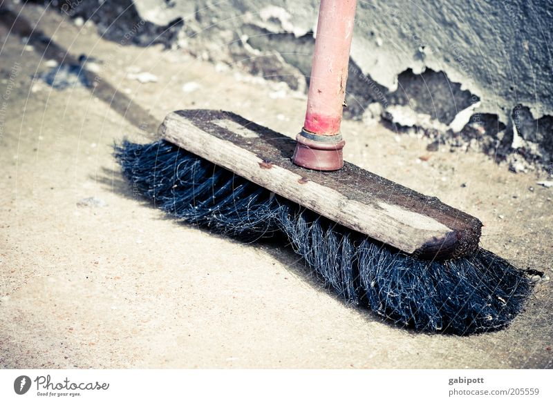 Old Red Black Wood Concrete Retro Broken Change Clean Transience Cleaning Decline Past Broom Bristles Broomstick