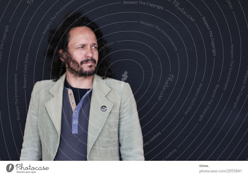 AST 10 | In the depth of the room Masculine Man Adults Human being Wall (barrier) Wall (building) Shirt Jacket Label Black-haired Long-haired Beard Observe