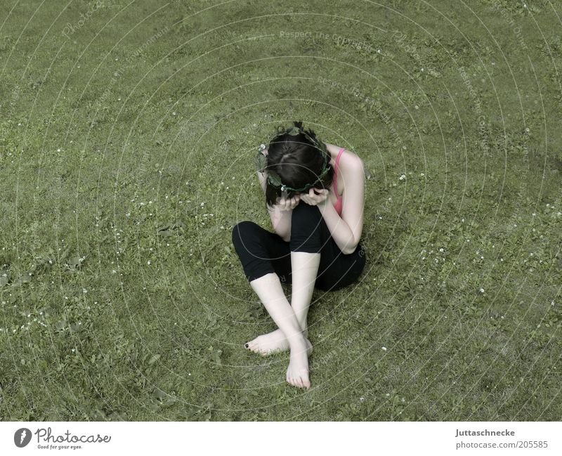 Youth (Young adults) Loneliness Meadow Feminine Garden Sadness Adults Woman Sit Grief Gloomy Pain Brunette Concern Cry