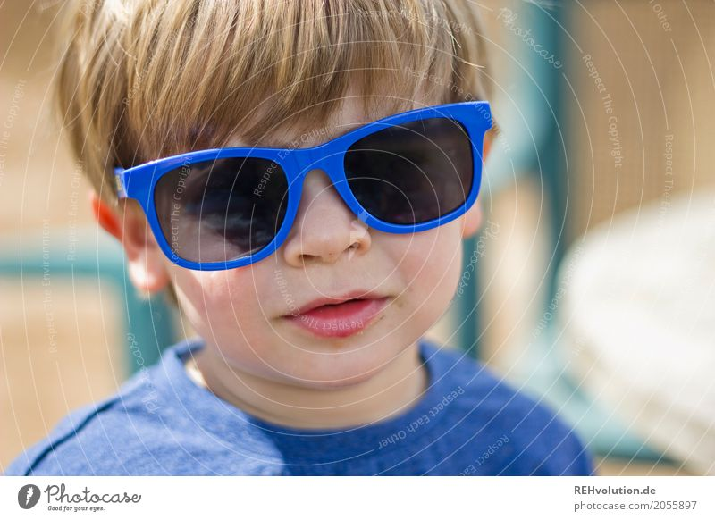 summer portrait Lifestyle Style Joy Happy Human being Masculine Child Toddler Boy (child) Infancy Face 1 1 - 3 years Sunlight Summer Sunglasses Authentic Blonde