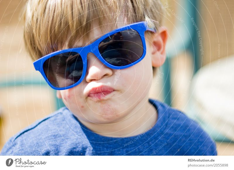 summer 2017 - sunglasses Human being Child Toddler Boy (child) Infancy Face 1 - 3 years Sunglasses Authentic Funny Blue Joy Absurdity Grimace Crazy Humor