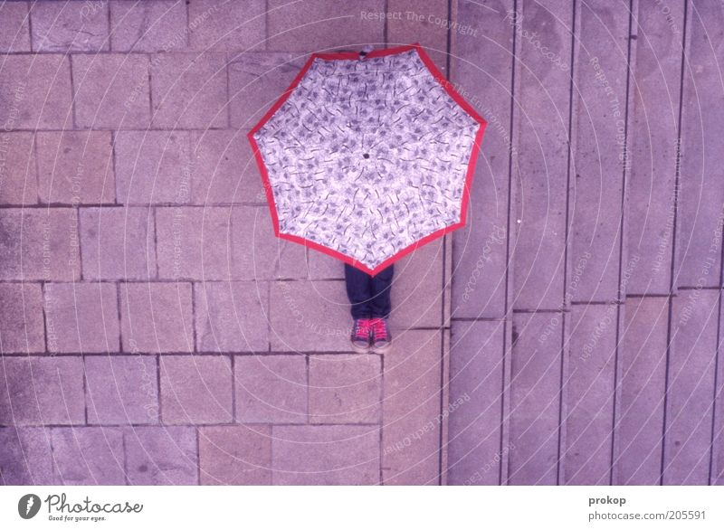Sky pink. Rain is waiting. Human being Umbrella Footwear Sneakers Sit Pink Hide Anonymous Perspective Colour photo Exterior shot Day Bird's-eye view Long shot