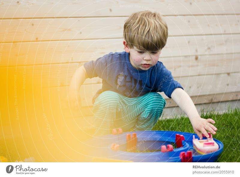 Human being Child Summer Water Joy Yellow Meadow Natural Wood Boy (child) Playing Small Garden Watercraft Masculine Infancy