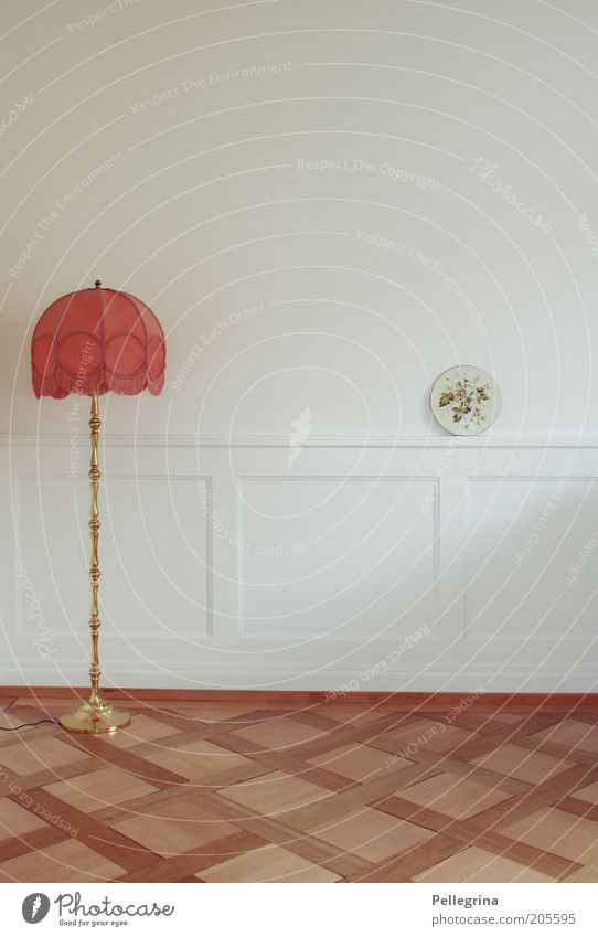 Old White Red Loneliness Lamp Wall (building) Room Flat (apartment) Empty Decoration Furniture Living room Wooden floor Lampshade Mural painting
