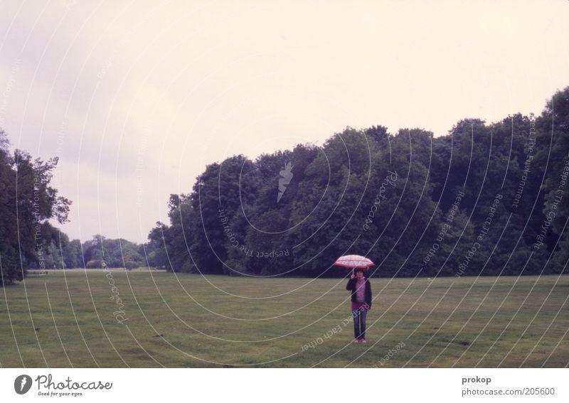 Last Man Standing Human being Woman Adults 1 Environment Nature Landscape Plant Clouds Park Meadow Forest Umbrella Wait Loneliness Horizon Uniqueness