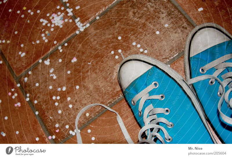 After the party... Feasts & Celebrations Blue Confetti Chucks Shoelace Tile Terracotta Footwear Snippets Iconic Clothing Modern Youth culture In pairs Deserted