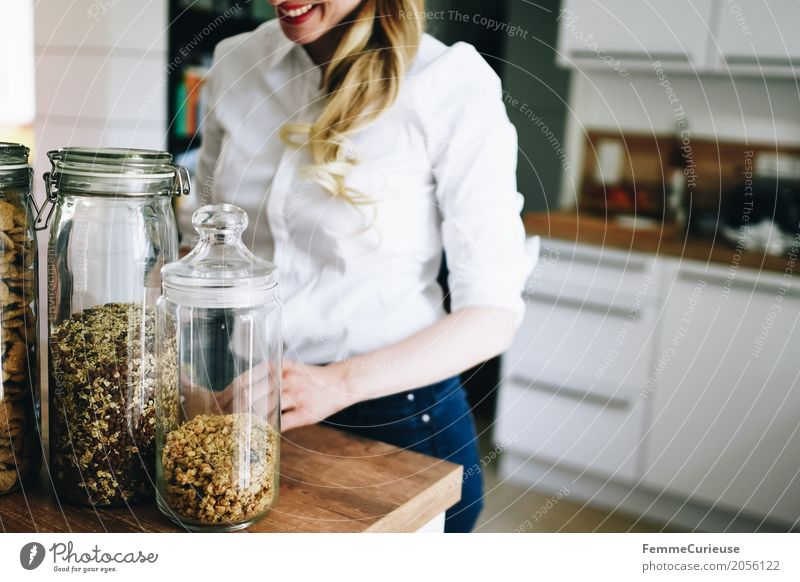 Human being Woman Youth (Young adults) Young woman Healthy Eating 18 - 30 years Adults Lifestyle Feminine Blonde Glass Smiling Kitchen Denim