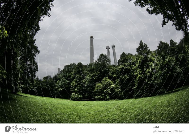Isar city Environment Nature Landscape Clouds Summer Bad weather Plant Grass Park Munich Manmade structures Building Chimney Relaxation Green Converse