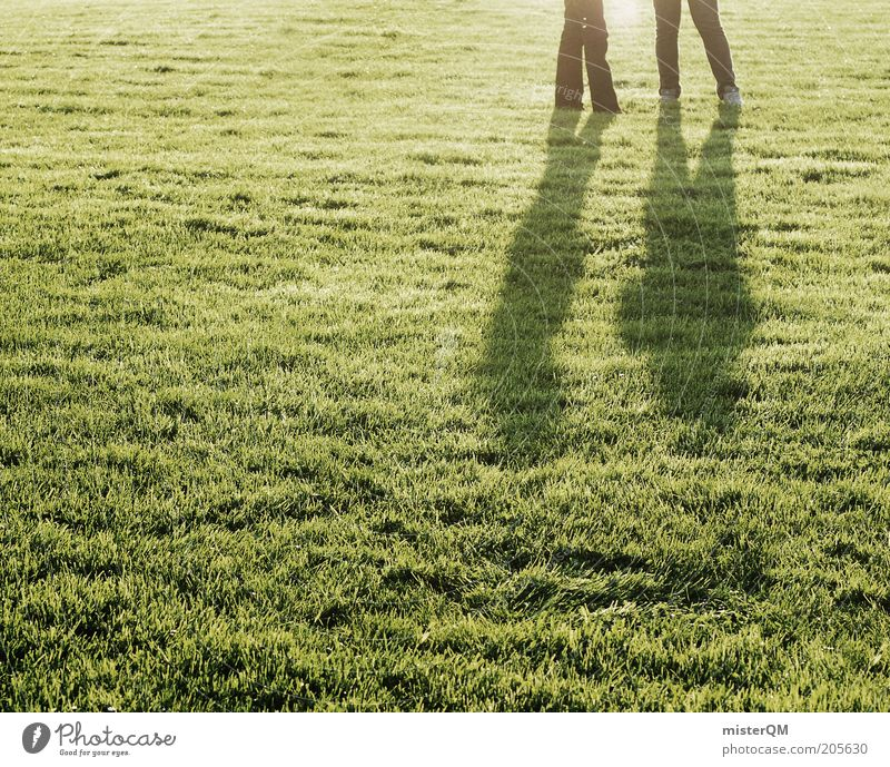 Human being Green Summer Calm To talk Grass Legs Legs Lighting Leisure and hobbies Esthetic Lawn Idyll Grass surface Agree Meadow