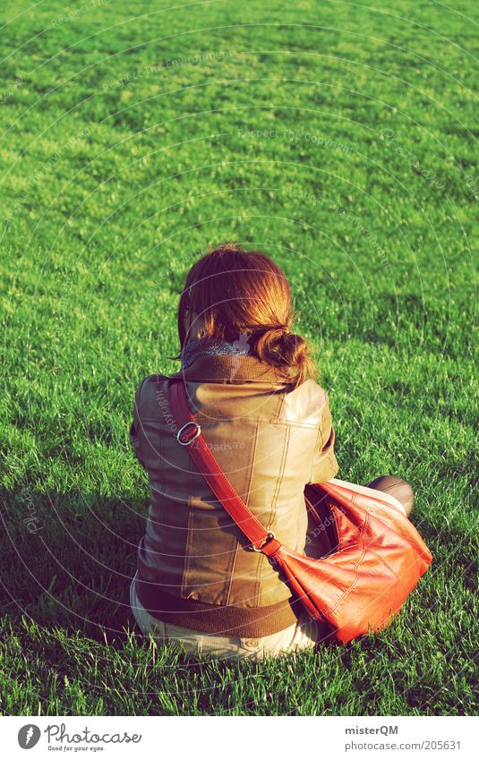 Woman Human being Green Calm Loneliness Relaxation Meadow Freedom Think Contentment Wait Fashion Sit Esthetic
