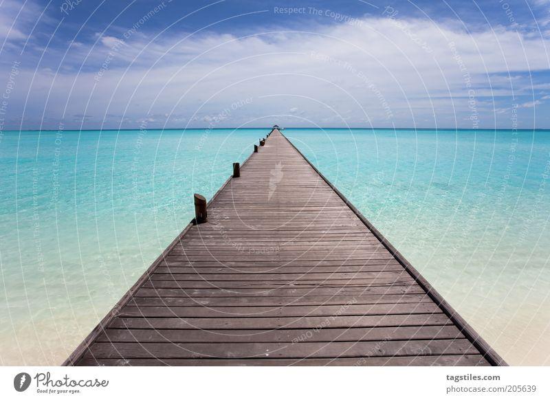 * KEEP DREAMING * Footbridge Maldives Caribbean Sea Greater Antilles Cuba Lesser Antilles Yucatan Vacation & Travel Travel photography Vanishing point Wood