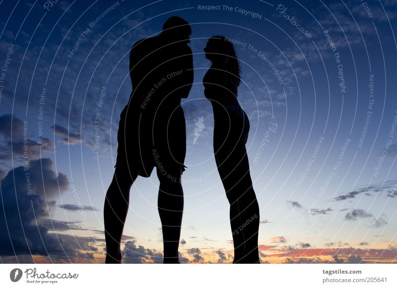 contrasts Vacation & Travel Night sky Evening Twilight Woman Man Couple In pairs Clouds Travel photography Argument torn Opinion Swimwear Blue Free Freedom