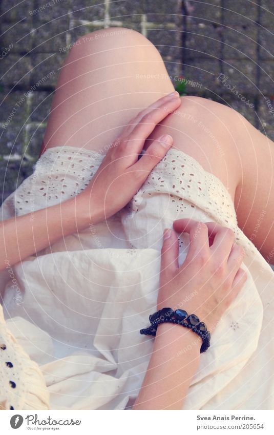 Youth (Young adults) Hand White Beautiful Dream Legs Fashion Elegant Sit Skin Natural Ground Cute Soft Dress Thin