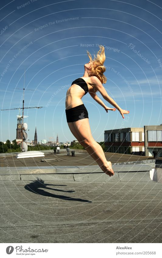 Woman Sky Youth (Young adults) Hand Joy 18 - 30 years Adults Life Movement Style Legs Freedom Hair and hairstyles Flying Jump Air