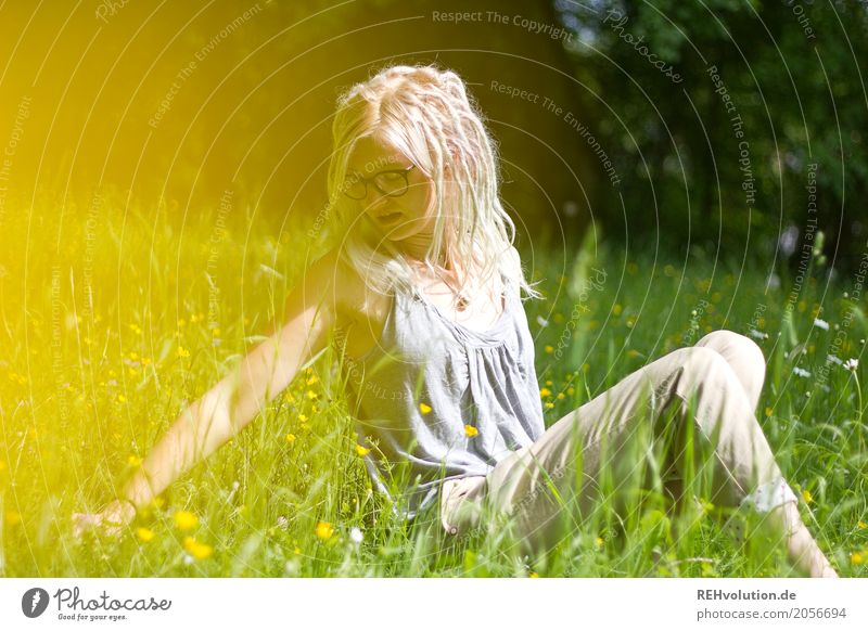 Jule on the flower meadow. Human being Feminine Young woman Youth (Young adults) 1 18 - 30 years Adults Environment Nature Landscape Sun Summer