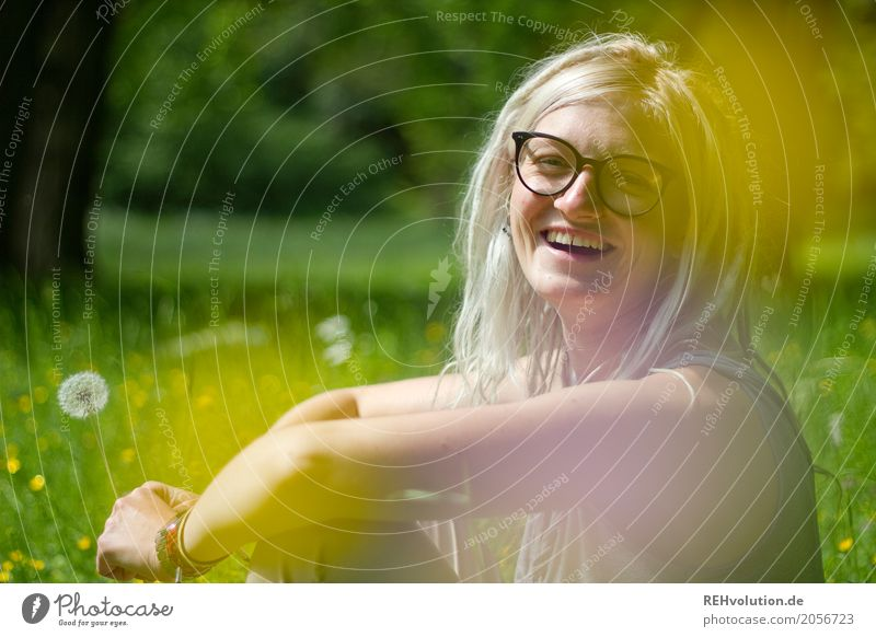 Jule laughs. Style Joy Happy Trip Human being Feminine Young woman Youth (Young adults) Woman Adults Face 1 18 - 30 years Subculture Environment Nature