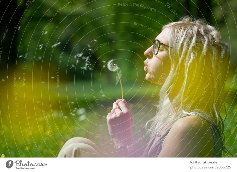Jule dandelion. Human being Feminine Young woman Youth (Young adults) Woman Adults Face 1 18 - 30 years Environment Nature Landscape Sunlight Summer Flower