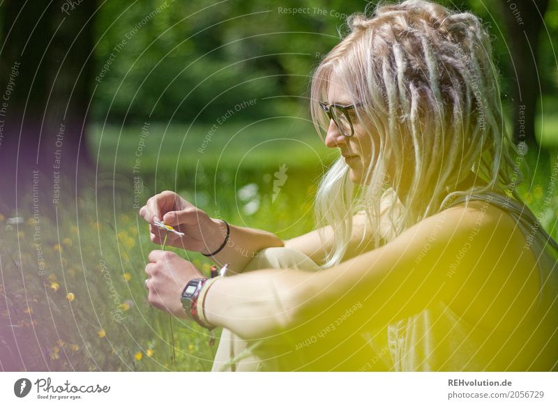 Woman Human being Nature Youth (Young adults) Young woman Summer Green Landscape Sun Flower 18 - 30 years Adults Yellow Environment Blossom Meadow