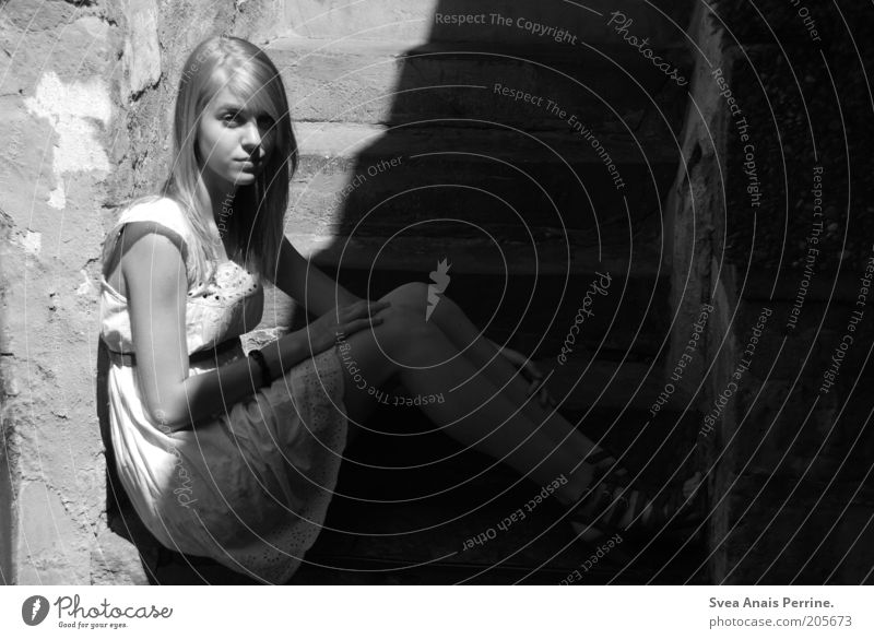 Human being Youth (Young adults) White Feminine Wall (building) Emotions Sadness Wall (barrier) Style Fashion Moody Blonde Sit Elegant Wait Stairs