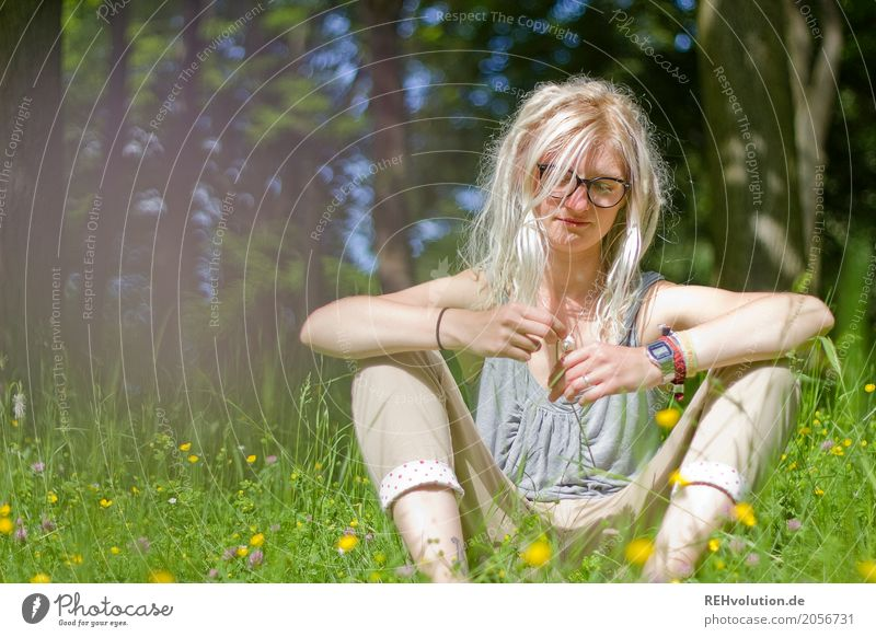 Human being Woman Nature Youth (Young adults) Young woman Summer Tree Flower Relaxation Calm 18 - 30 years Adults Environment Love Meadow Feminine