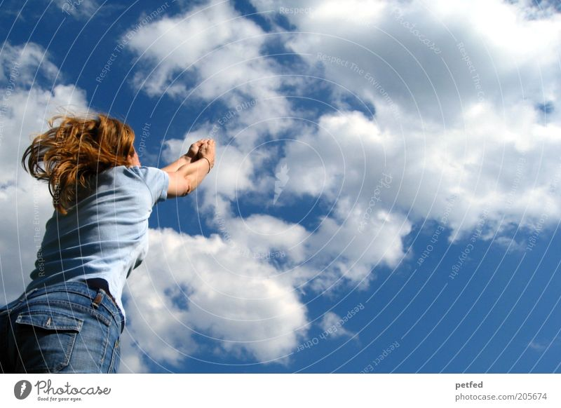 Woman Sky Blue Clouds Joy Far-off places Adults Feminine Freedom Happy Jump Happiness Joie de vivre (Vitality) Long-haired Human being
