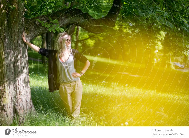 Woman Human being Nature Youth (Young adults) Young woman Summer Green Landscape Tree Relaxation 18 - 30 years Adults Yellow Lifestyle Environment Meadow