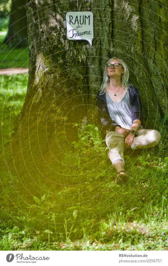Human being Nature Youth (Young adults) Young woman Summer Green Landscape Tree Relaxation 18 - 30 years Adults Environment Lifestyle Meadow Natural Feminine
