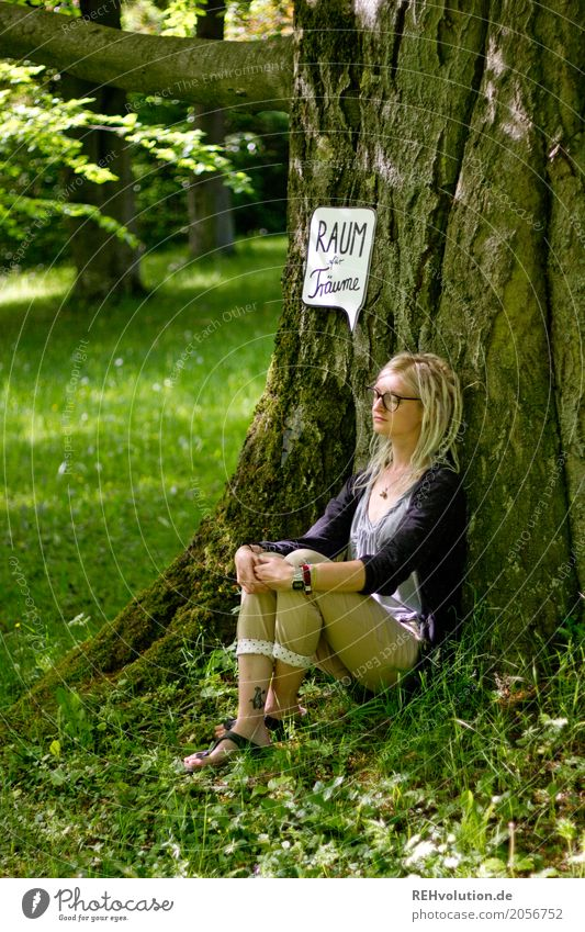 Jule | Young woman with speech bubble sitting at the tree Human being Feminine Youth (Young adults) 1 18 - 30 years Adults Environment Nature Summer Tree Park
