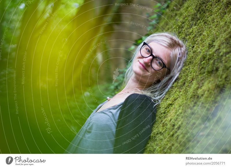 Jule and the moss. Style Well-being Contentment Relaxation Calm Human being Feminine Young woman Youth (Young adults) Woman Adults Face 1 18 - 30 years