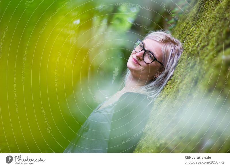 Jule dreamy. Human being Young woman Youth (Young adults) Woman Adults Hair and hairstyles 1 18 - 30 years Environment Nature Moss Wall (barrier)