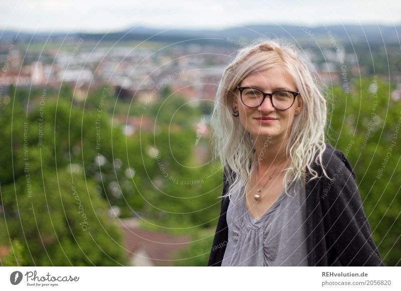 Jule | City Panorama Style Human being Feminine Young woman Youth (Young adults) Woman Adults Face 1 18 - 30 years Youth culture Subculture Fulda district Town