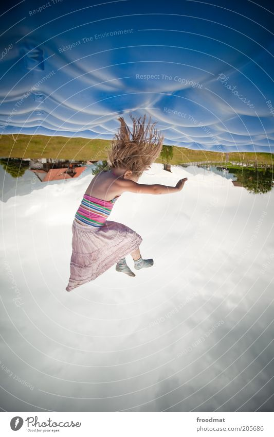 pillows Joy Happy Human being Child Girl Infancy 1 Cute Crazy Wild Happiness Contentment Joie de vivre (Vitality) Movement Leisure and hobbies Trampoline Jump