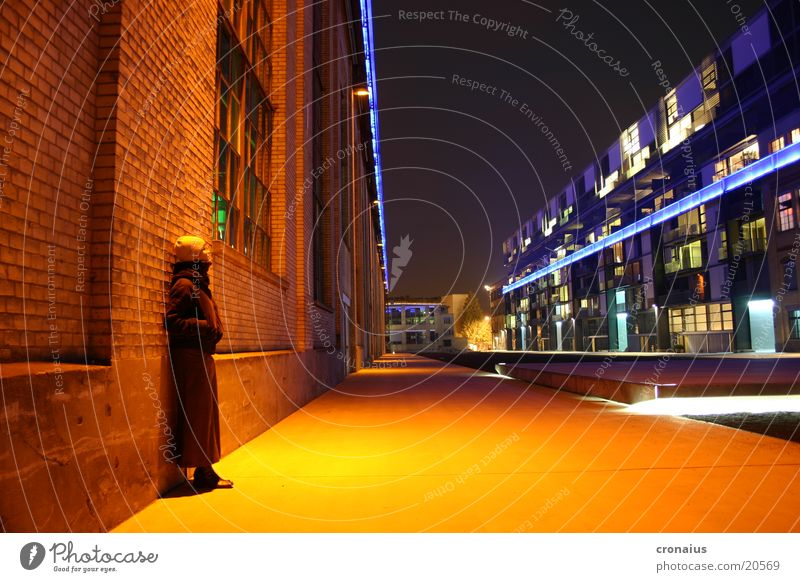 light plays Moody Long exposure Night Town Intensive Winter Cold Orange Industrial Photography Loneliness Colour Central perspective City light