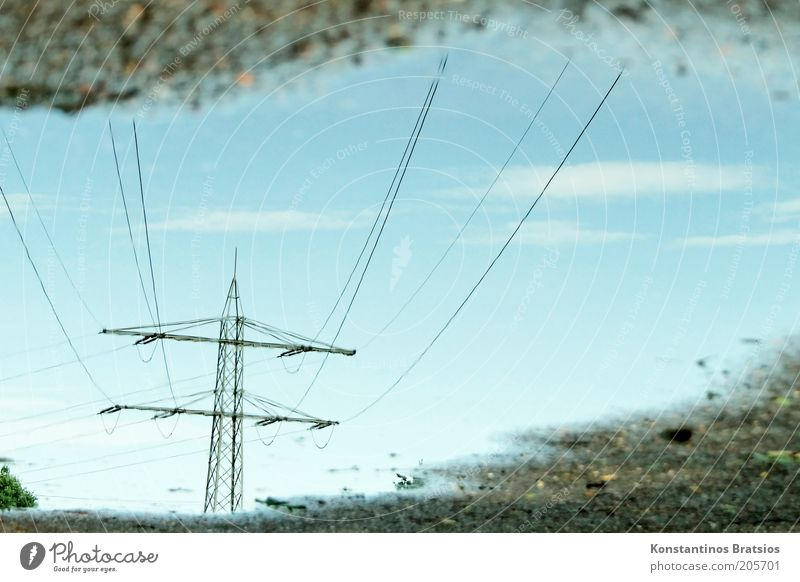 Water Sky Blue Wet Energy industry Electricity Under Fluid Steel cable Beautiful weather Electricity pylon Puddle High voltage power line Reflection