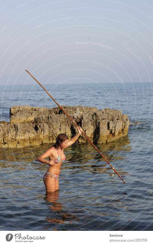 castaway Woman Human being Island Beach Hunting Dart Javelin Bikini Coast Stick Summer Vacation & Travel Survive Attractive Struggle for survival